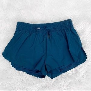 VS Victoria Sport Teal Scalloped Athletic Shorts